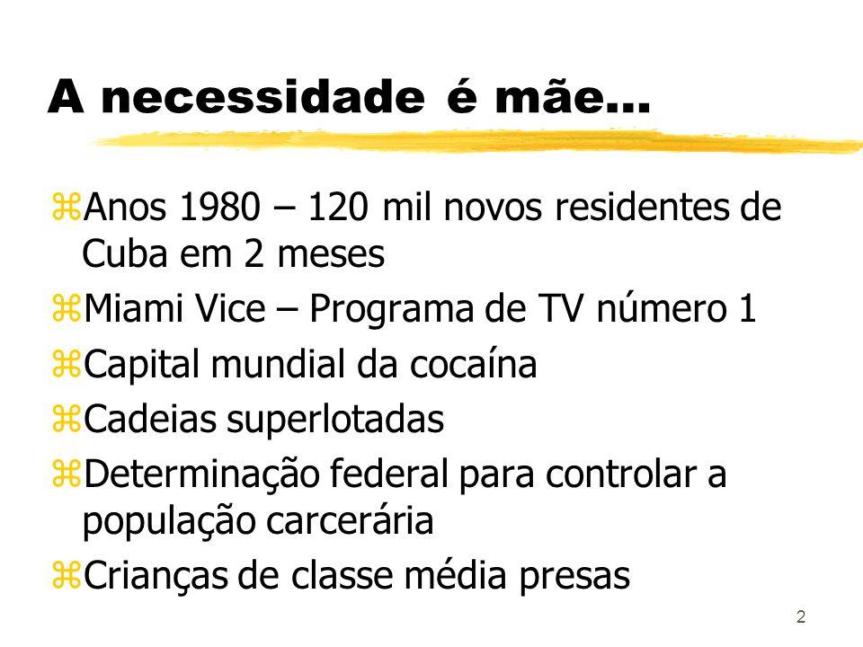 2 A necessidade é mãe… zAnos 1980 – 120 mil novos residentes de Cuba em 2 meses zMiami Vice – Programa de TV número 1 zCapital mundial da cocaína zCadeias superlotadas zDeterminação federal para controlar a população carcerária zCrianças de classe média presas