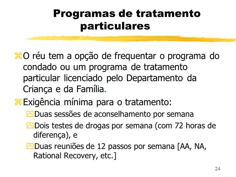 24 Programas de tratamento particulares zO réu tem a opção de frequentar o programa do condado ou um programa de tratamento particular licenciado pelo Departamento da Criança e da Família.