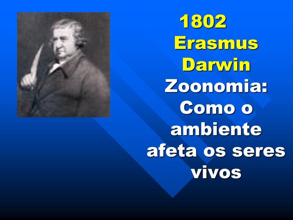 1802 Erasmus Darwin Zoonomia: Como o ambiente afeta os seres vivos