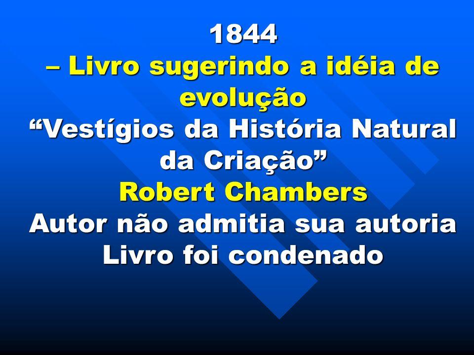 1844 – Livro sugerindo a idéia de evolução Vestígios da História Natural da Criação Robert Chambers Autor não admitia sua autoria Livro foi condenado