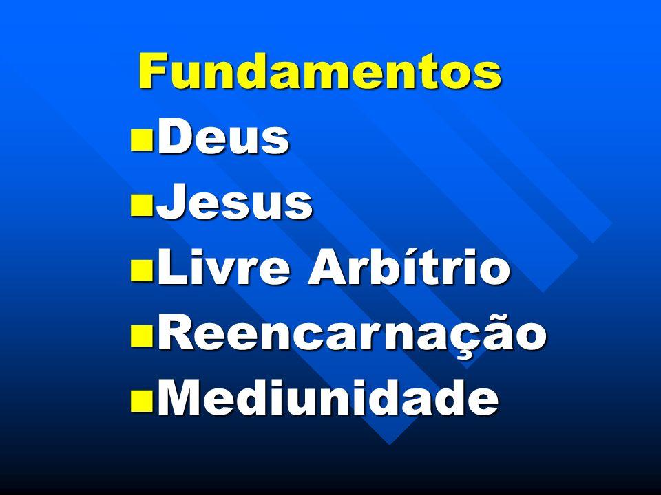 Fundamentos Deus Deus Jesus Jesus Livre Arbítrio Livre Arbítrio Reencarnação Reencarnação Mediunidade Mediunidade