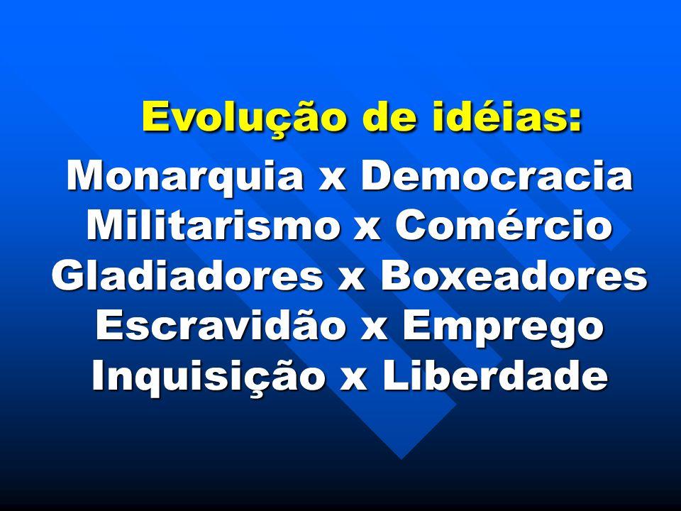 Evolução de idéias: Evolução de idéias: Monarquia x Democracia Militarismo x Comércio Gladiadores x Boxeadores Escravidão x Emprego Inquisição x Liber