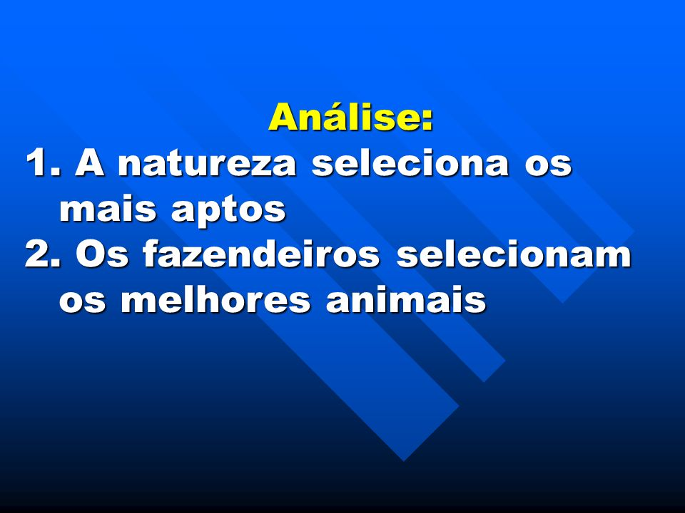 Análise: 1. A natureza seleciona os mais aptos 2. Os fazendeiros selecionam os melhores animais