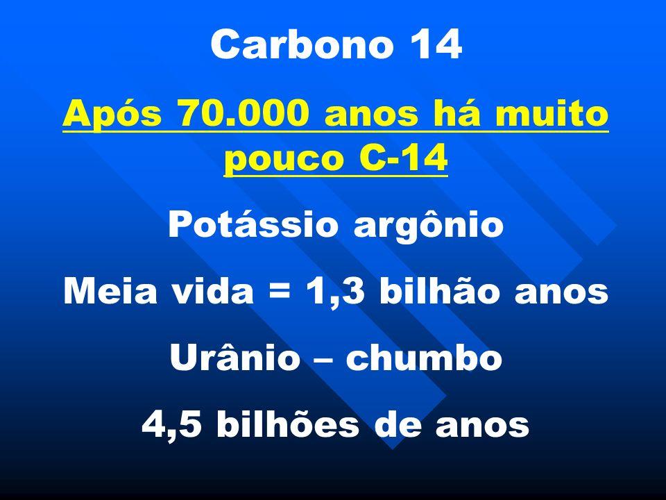 Carbono 14 Após 70.000 anos há muito pouco C-14 Potássio argônio Meia vida = 1,3 bilhão anos Urânio – chumbo 4,5 bilhões de anos