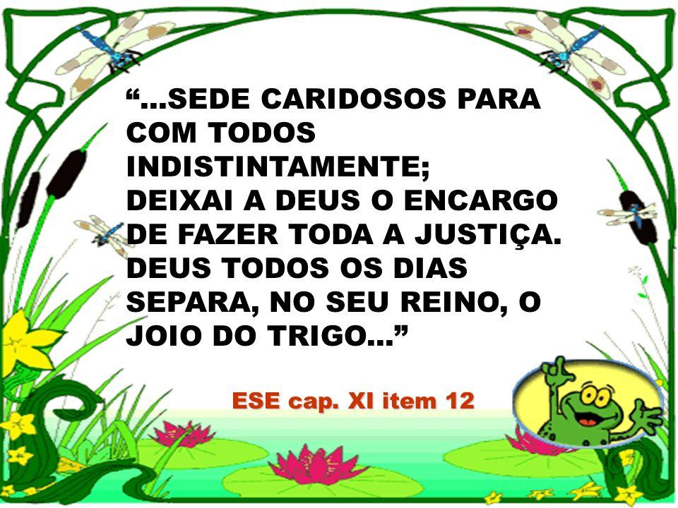 ...SEDE CARIDOSOS PARA COM TODOS INDISTINTAMENTE; DEIXAI A DEUS O ENCARGO DE FAZER TODA A JUSTIÇA. DEUS TODOS OS DIAS SEPARA, NO SEU REINO, O JOIO DO