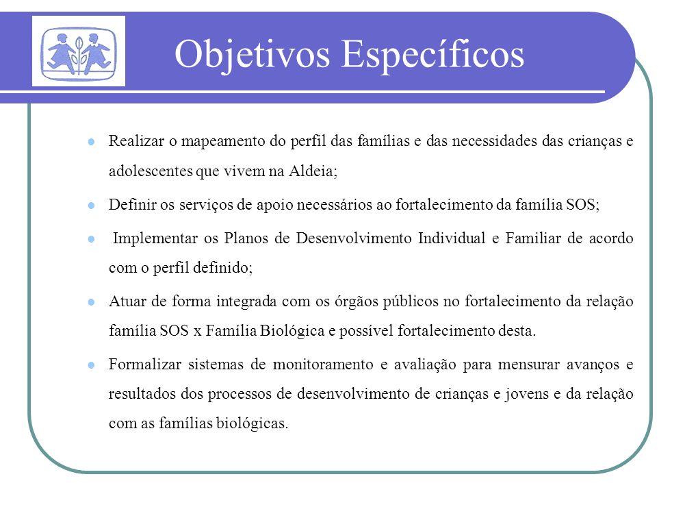 Objetivos Específicos Realizar o mapeamento do perfil das famílias e das necessidades das crianças e adolescentes que vivem na Aldeia; Definir os serv
