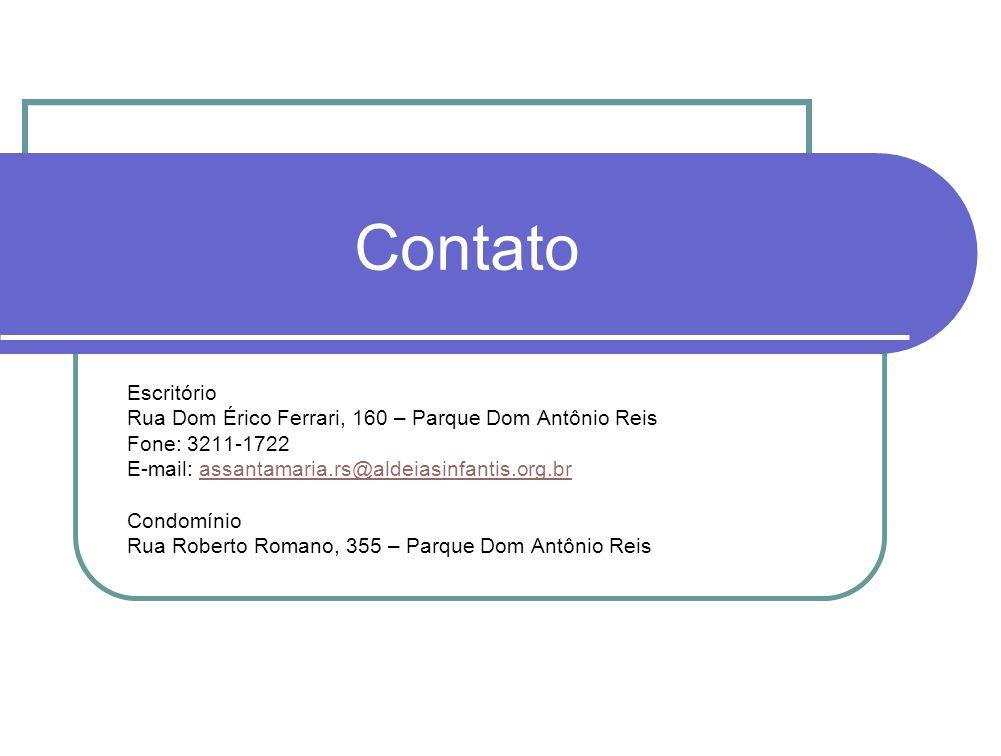Contato Escritório Rua Dom Érico Ferrari, 160 – Parque Dom Antônio Reis Fone: 3211-1722 E-mail: assantamaria.rs@aldeiasinfantis.org.brassantamaria.rs@