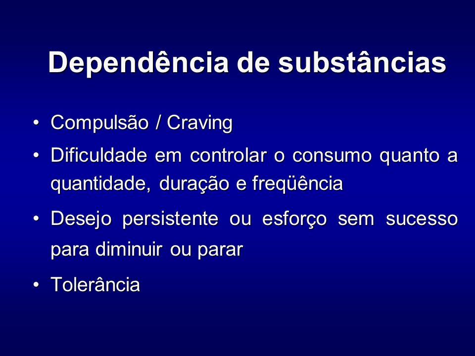 Cocaína Sintomas de abstinênciaSintomas de abstinência –Fadiga –Sonhos vívidos e desagradáveis –Insônia ou hipersonia –Aumento do apetite –Sintomas de depressão –Ansiedade –Irritabilidade