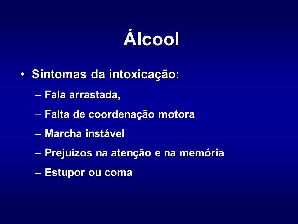 Concentração de álcool no sangue e comportamento Concentração de álcool no sangue e comportamento Até 0,2 g de álcool p/litro no sangue, não produz efeitos na maioria das pessoasAté 0,2 g de álcool p/litro no sangue, não produz efeitos na maioria das pessoas De 0,2 a 0,5, causa sensação de tranqüilidade, sedação, lentificação da reação a estímulos, diminuição da percepção de distância e velocidadeDe 0,2 a 0,5, causa sensação de tranqüilidade, sedação, lentificação da reação a estímulos, diminuição da percepção de distância e velocidade –Risco de acidente aumenta duas vezes De 0,5 a 0,9, há um aumento do tempo de reação a estímulos externosDe 0,5 a 0,9, há um aumento do tempo de reação a estímulos externos –Risco de aciente aumenta três vezes