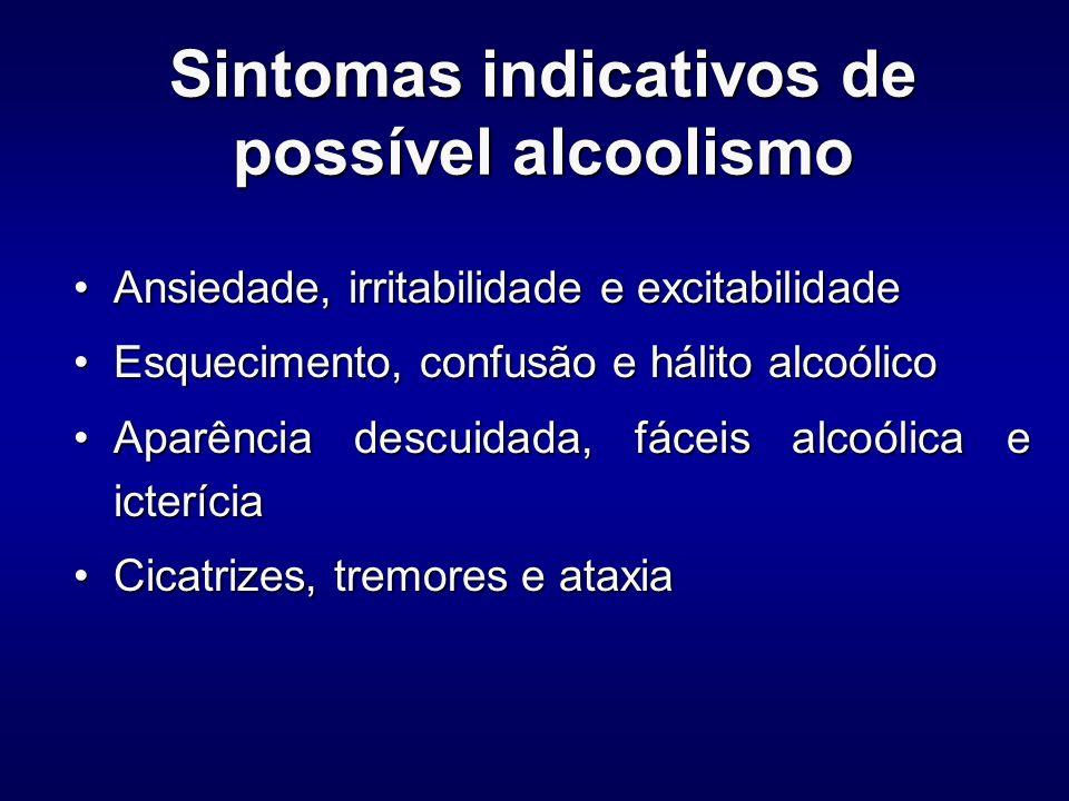 Sintomas de abstinência Álcool:Álcool: –Hiperatividade autonômica –Tremores –Insônia –Náuseas e vômitos –Alucinações –Agitação psicomotora –Ansiedade –Convulsões