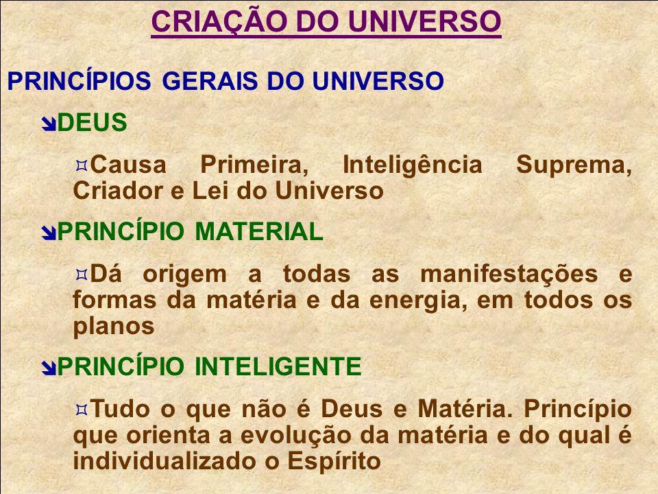CRIAÇÃO DO UNIVERSO PRINCÍPIOS GERAIS DO UNIVERSO DEUS Causa Primeira, Inteligência Suprema, Criador e Lei do Universo PRINCÍPIO MATERIAL Dá origem a todas as manifestações e formas da matéria e da energia, em todos os planos PRINCÍPIO INTELIGENTE Tudo o que não é Deus e Matéria.