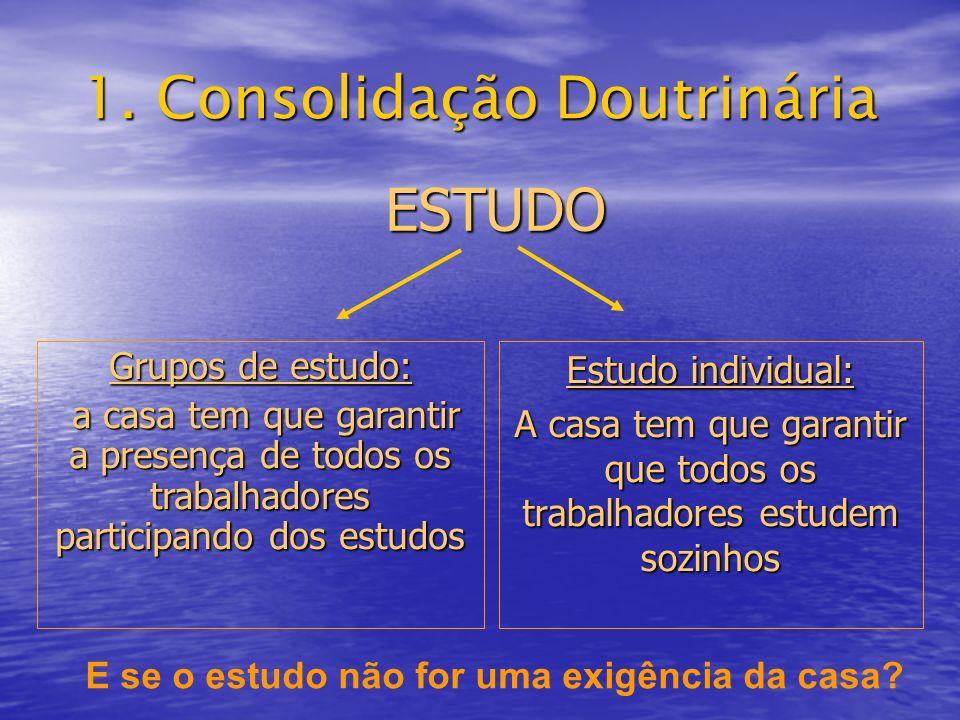 1. Consolidação Doutrinária ESTUDO Estudo individual: A casa tem que garantir que todos os trabalhadores estudem sozinhos Grupos de estudo: a casa tem
