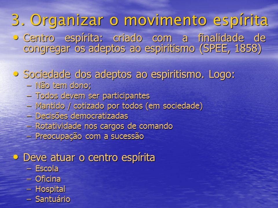 3. Organizar o movimento espírita Centro espírita: criado com a finalidade de congregar os adeptos ao espiritismo (SPEE, 1858) Centro espírita: criado
