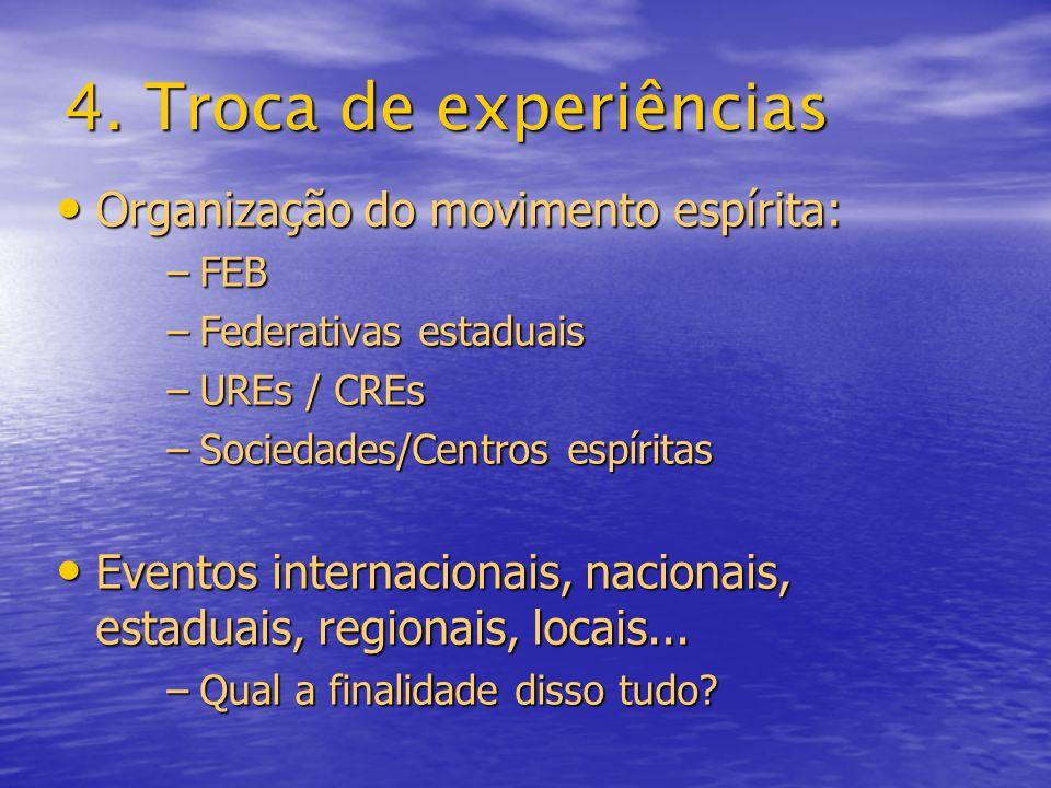 4. Troca de experiências Organização do movimento espírita: Organização do movimento espírita: –FEB –Federativas estaduais –UREs / CREs –Sociedades/Ce