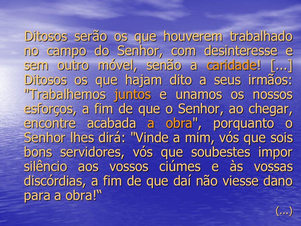 Ditosos serão os que houverem trabalhado no campo do Senhor, com desinteresse e sem outro móvel, senão a caridade.