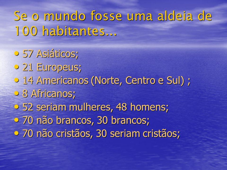Se o mundo fosse uma aldeia de 100 habitantes... 57 Asiáticos; 57 Asiáticos; 21 Europeus; 21 Europeus; 14 Americanos (Norte, Centro e Sul) ; 14 Americ