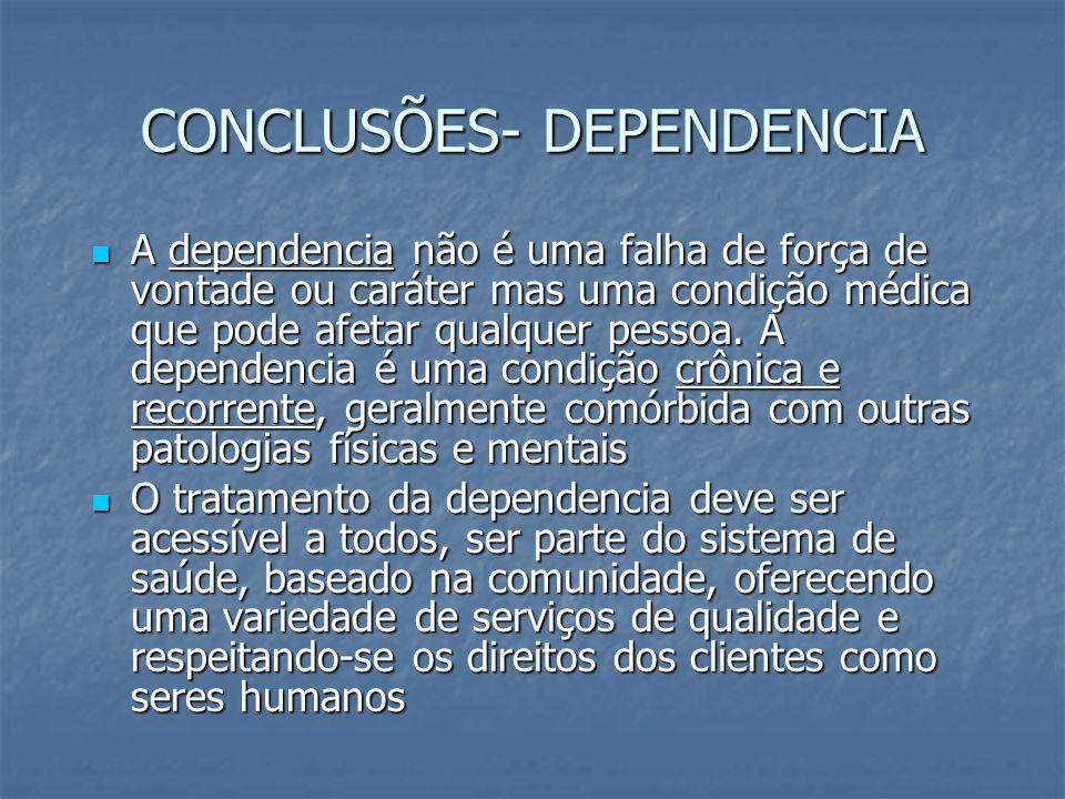 CONCLUSÕES- DEPENDENCIA A dependencia não é uma falha de força de vontade ou caráter mas uma condição médica que pode afetar qualquer pessoa. A depend