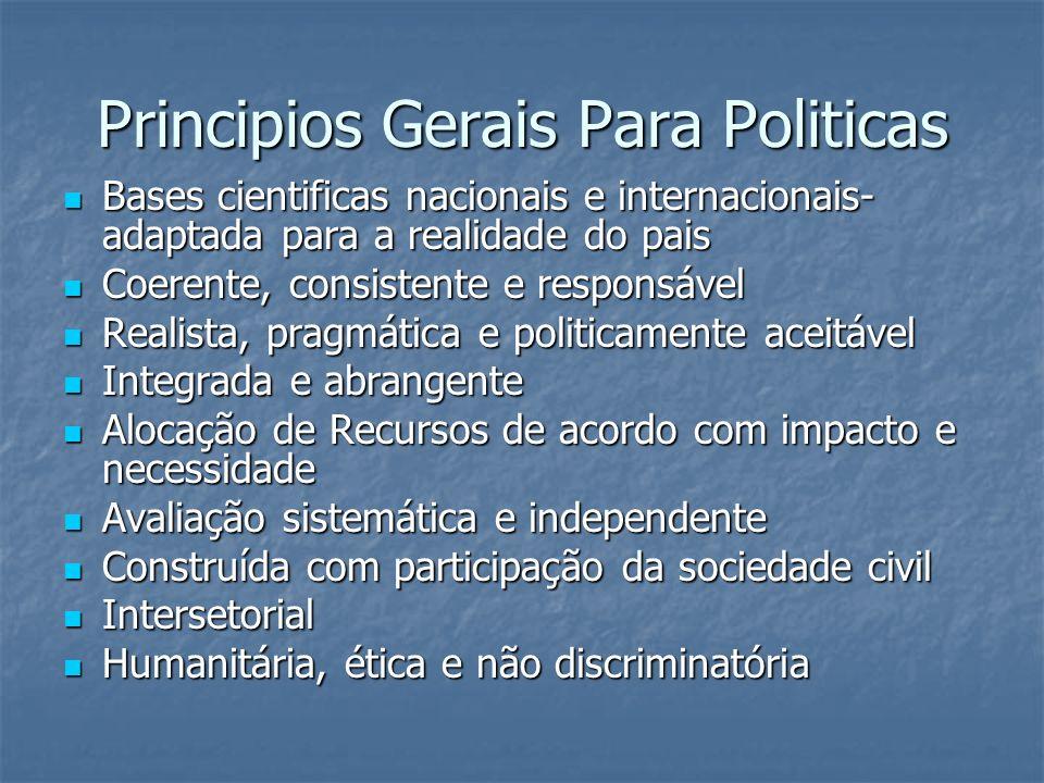 Principios Gerais Para Politicas Bases cientificas nacionais e internacionais- adaptada para a realidade do pais Bases cientificas nacionais e interna