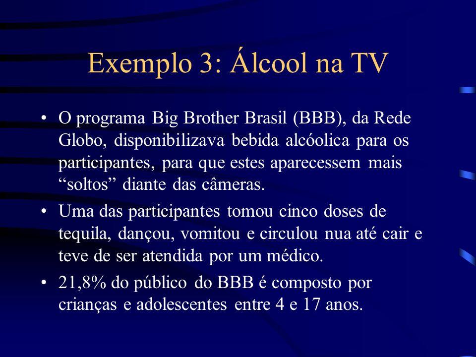 Exemplo 3: Álcool na TV O programa Big Brother Brasil (BBB), da Rede Globo, disponibilizava bebida alcóolica para os participantes, para que estes apa