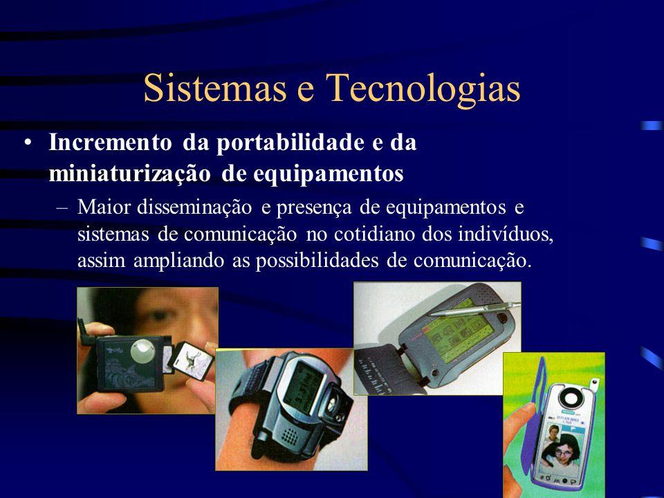 Sistemas e Tecnologias Incremento da portabilidade e da miniaturização de equipamentos –Maior disseminação e presença de equipamentos e sistemas de co