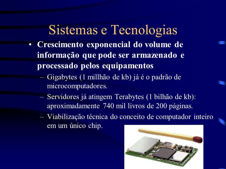 Sistemas e Tecnologias Crescimento exponencial do volume de informação que pode ser armazenado e processado pelos equipamentos –Gigabytes (1 millhão d