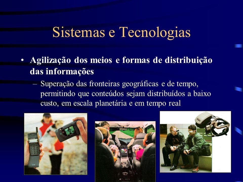 Sistemas e Tecnologias Agilização dos meios e formas de distribuição das informações –Superação das fronteiras geográficas e de tempo, permitindo que