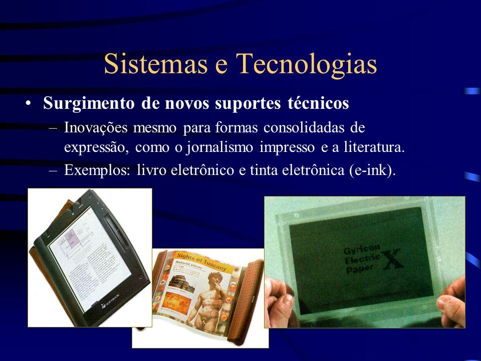 Sistemas e Tecnologias Surgimento de novos suportes técnicos –Inovações mesmo para formas consolidadas de expressão, como o jornalismo impresso e a li