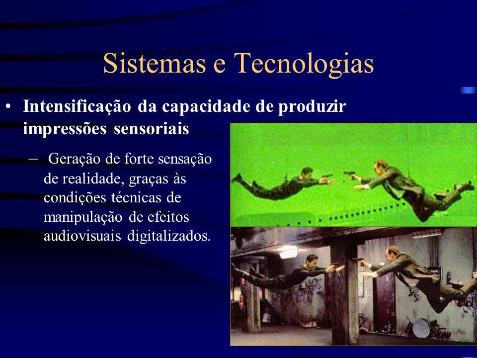 Sistemas e Tecnologias Intensificação da capacidade de produzir impressões sensoriais – Geração de forte sensação de realidade, graças às condições té