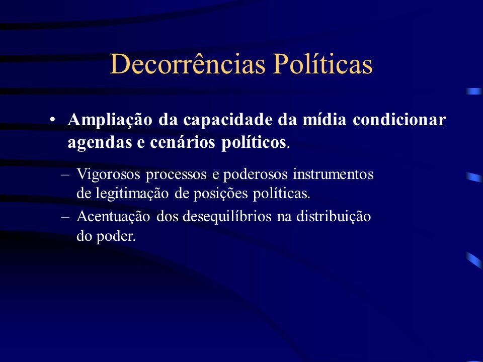 Decorrências Políticas Ampliação da capacidade da mídia condicionar agendas e cenários políticos. –Vigorosos processos e poderosos instrumentos de leg