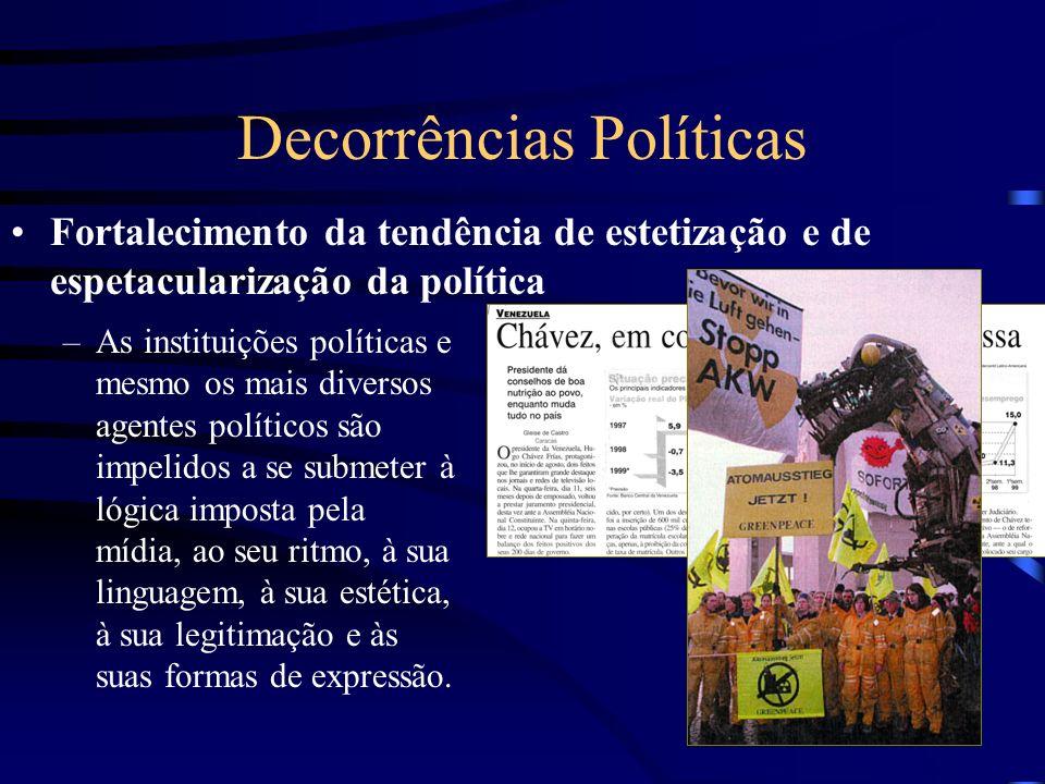 Decorrências Políticas Fortalecimento da tendência de estetização e de espetacularização da política –As instituições políticas e mesmo os mais divers