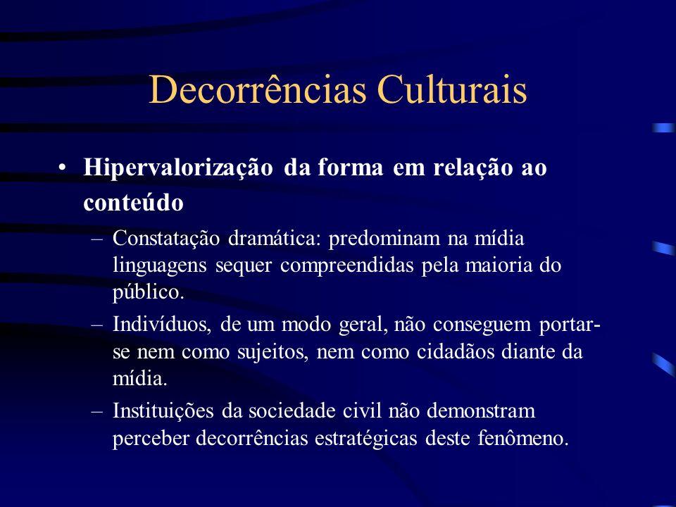 Decorrências Culturais Hipervalorização da forma em relação ao conteúdo –Constatação dramática: predominam na mídia linguagens sequer compreendidas pe