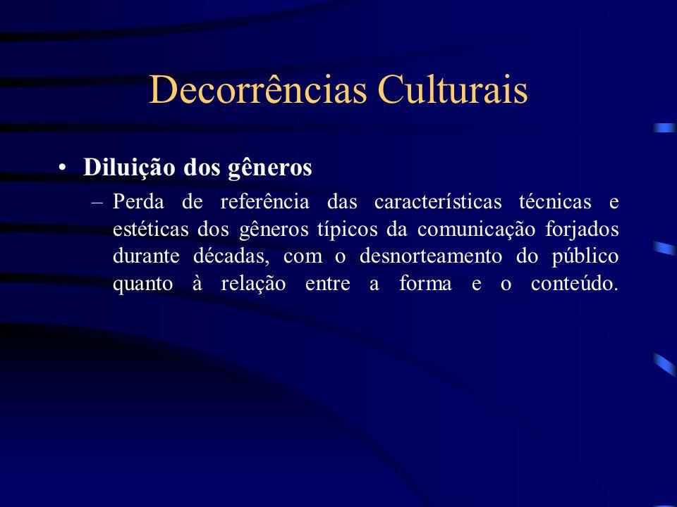 Decorrências Culturais Diluição dos gêneros –Perda de referência das características técnicas e estéticas dos gêneros típicos da comunicação forjados