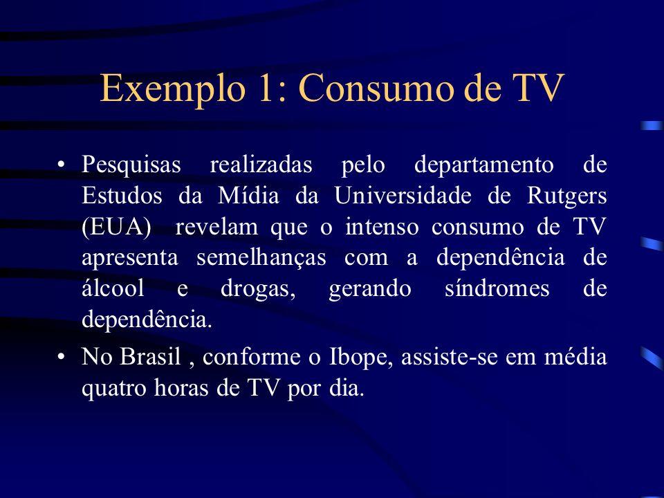 Exemplo 1: Consumo de TV Pesquisas realizadas pelo departamento de Estudos da Mídia da Universidade de Rutgers (EUA) revelam que o intenso consumo de