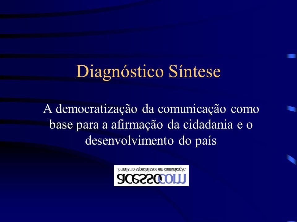 Diagnóstico Síntese A democratização da comunicação como base para a afirmação da cidadania e o desenvolvimento do país