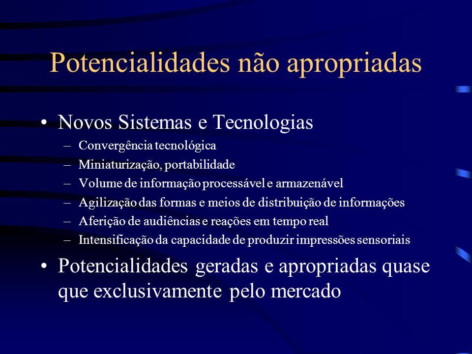 Potencialidades não apropriadas Novos Sistemas e Tecnologias –Convergência tecnológica –Miniaturização, portabilidade –Volume de informação processáve