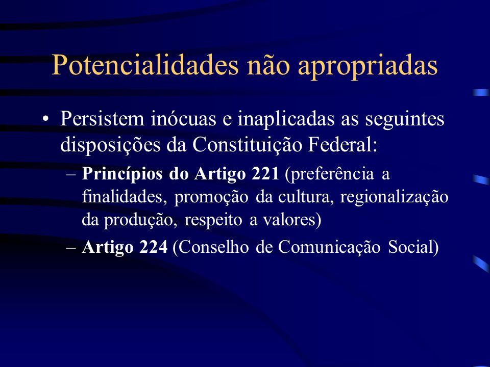 Potencialidades não apropriadas Persistem inócuas e inaplicadas as seguintes disposições da Constituição Federal: –Princípios do Artigo 221 (preferênc