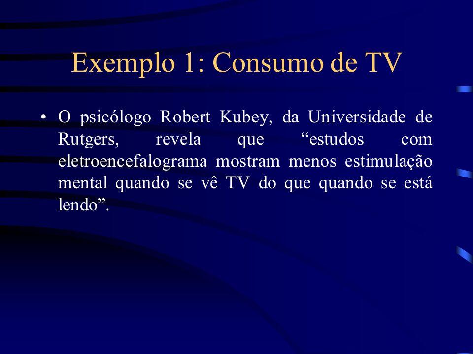Exemplo 1: Consumo de TV O psicólogo Robert Kubey, da Universidade de Rutgers, revela que estudos com eletroencefalograma mostram menos estimulação me