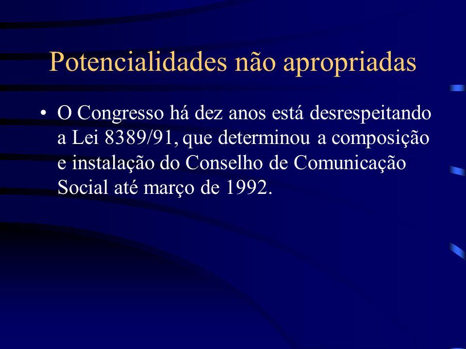 Potencialidades não apropriadas O Congresso há dez anos está desrespeitando a Lei 8389/91, que determinou a composição e instalação do Conselho de Com