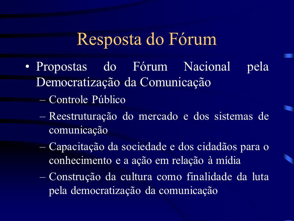 Resposta do Fórum Propostas do Fórum Nacional pela Democratização da Comunicação –Controle Público –Reestruturação do mercado e dos sistemas de comuni