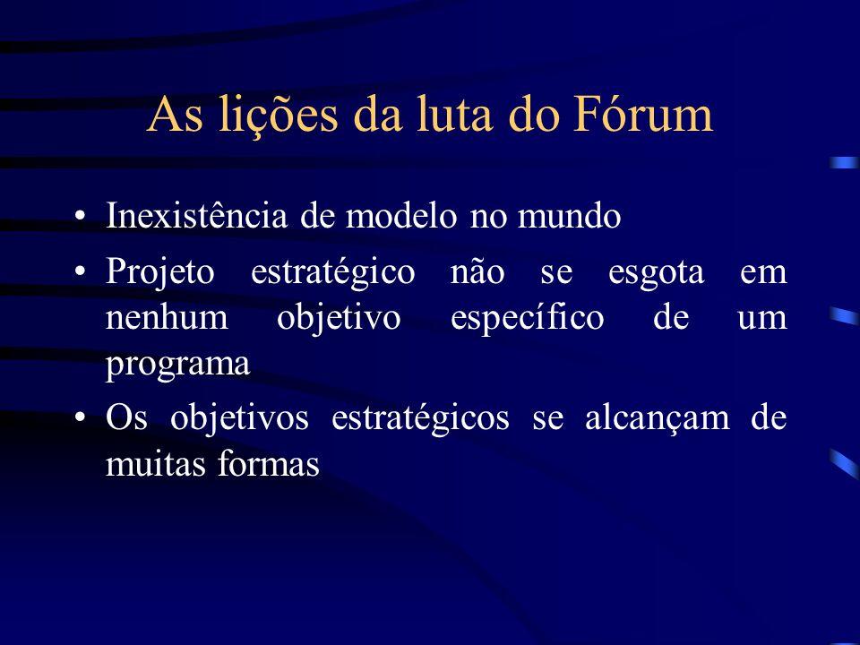 As lições da luta do Fórum Inexistência de modelo no mundo Projeto estratégico não se esgota em nenhum objetivo específico de um programa Os objetivos