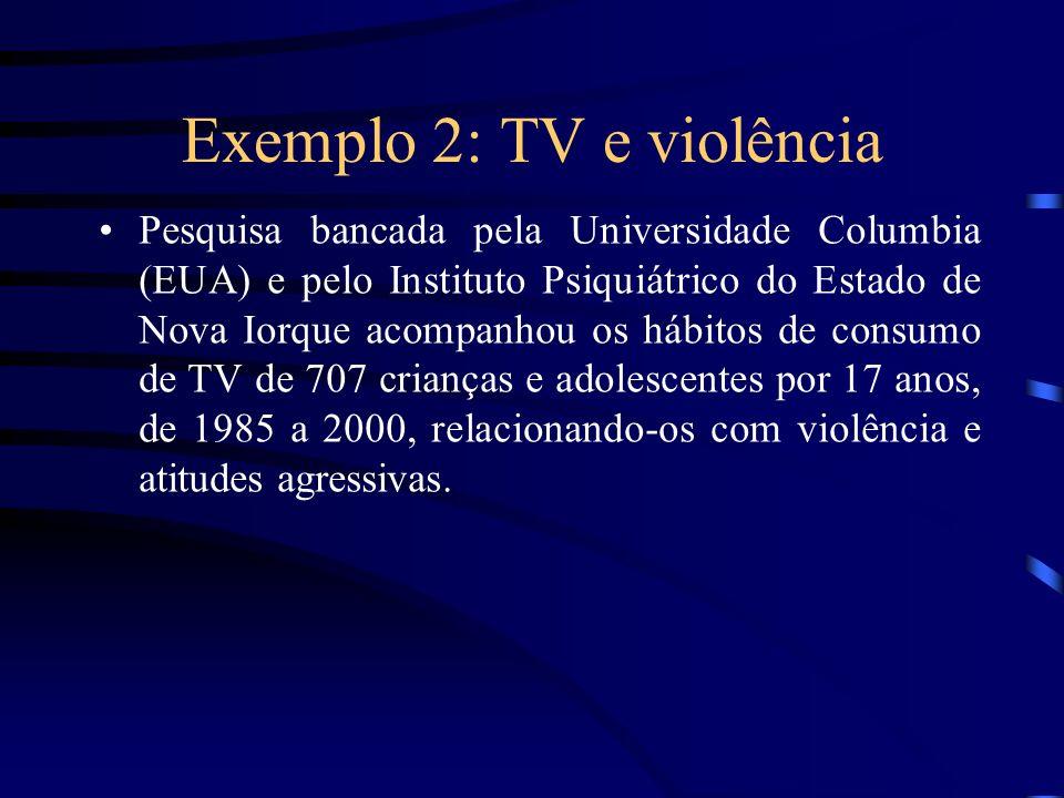 Exemplo 2: TV e violência Pesquisa bancada pela Universidade Columbia (EUA) e pelo Instituto Psiquiátrico do Estado de Nova Iorque acompanhou os hábit