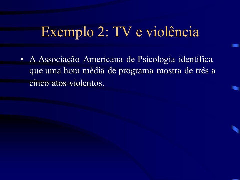 Exemplo 2: TV e violência A Associação Americana de Psicologia identifica que uma hora média de programa mostra de três a cinco atos violentos.