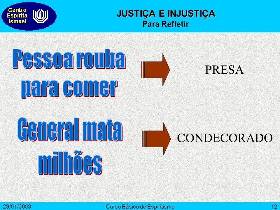 23/01/2003Curso Básico de Espiritismo12 PRESA CONDECORADO JUSTIÇA E INJUSTIÇA Para Refletir