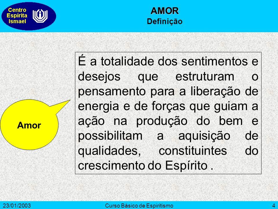 23/01/2003Curso Básico de Espiritismo4 É a totalidade dos sentimentos e desejos que estruturam o pensamento para a liberação de energia e de forças qu