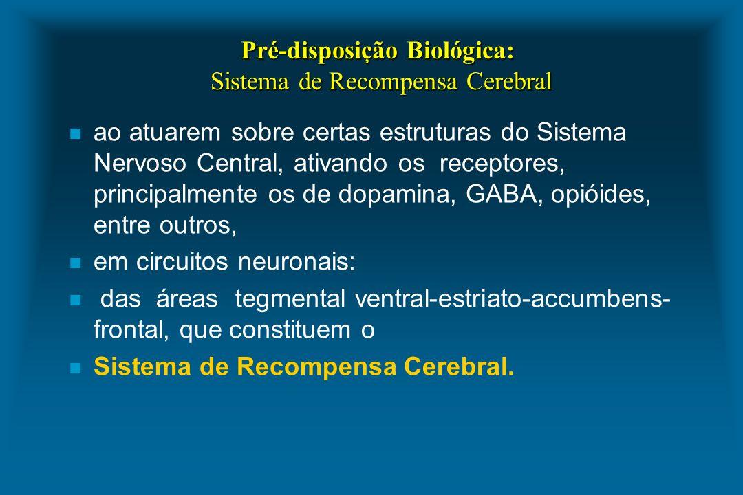 Pré-disposição Biológica: Sistema de Recompensa Cerebral n ao atuarem sobre certas estruturas do Sistema Nervoso Central, ativando os receptores, prin