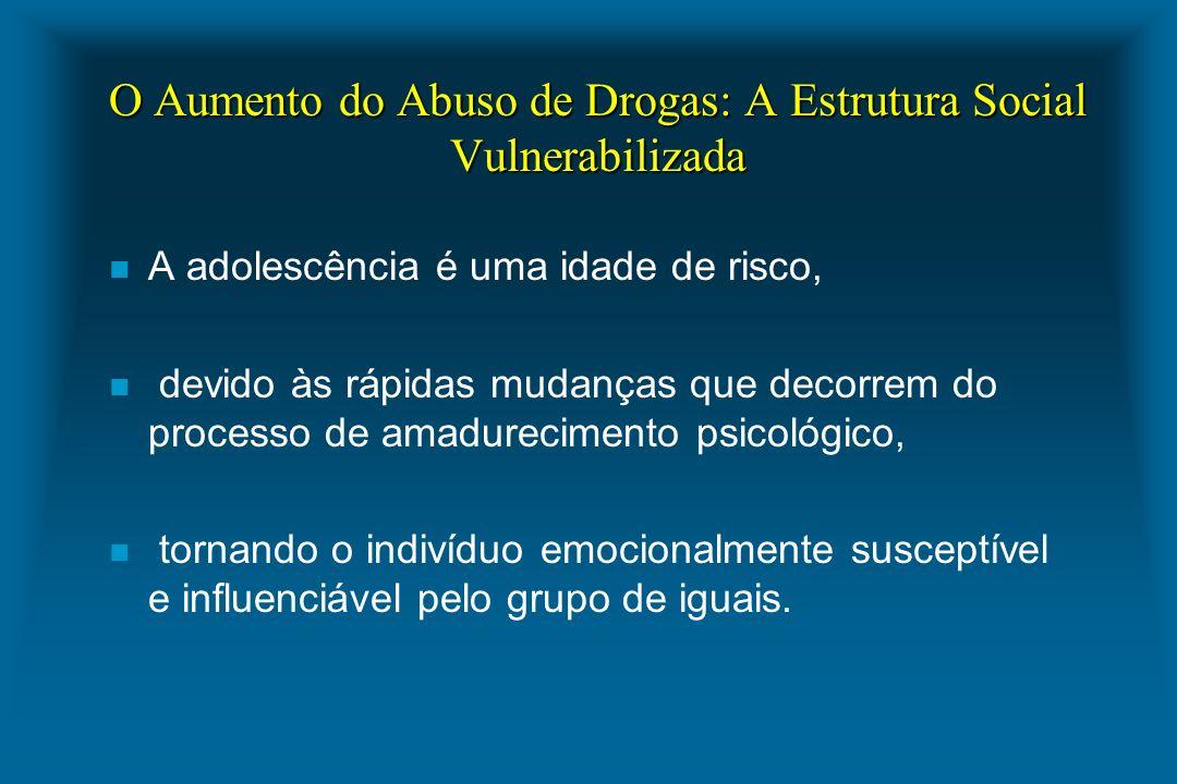 O Aumento do Abuso de Drogas: A Estrutura Social Vulnerabilizada n A adolescência é uma idade de risco, n devido às rápidas mudanças que decorrem do p