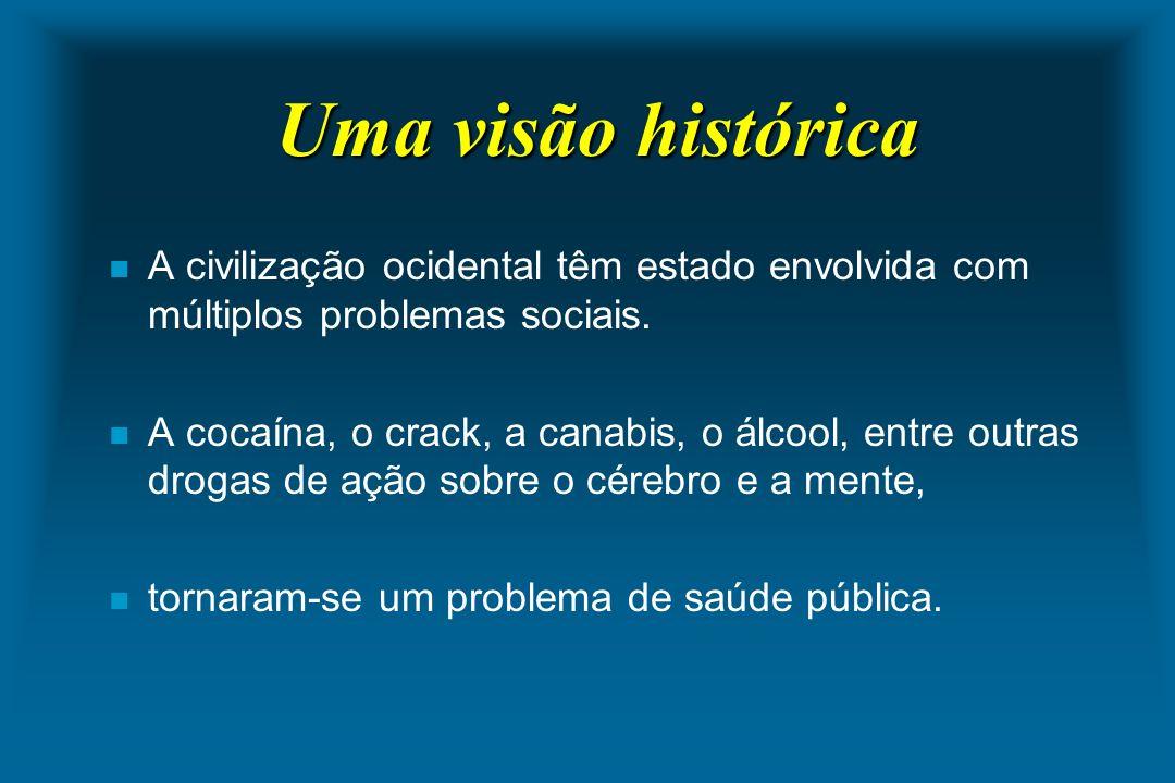 Uma visão histórica n A civilização ocidental têm estado envolvida com múltiplos problemas sociais. n A cocaína, o crack, a canabis, o álcool, entre o