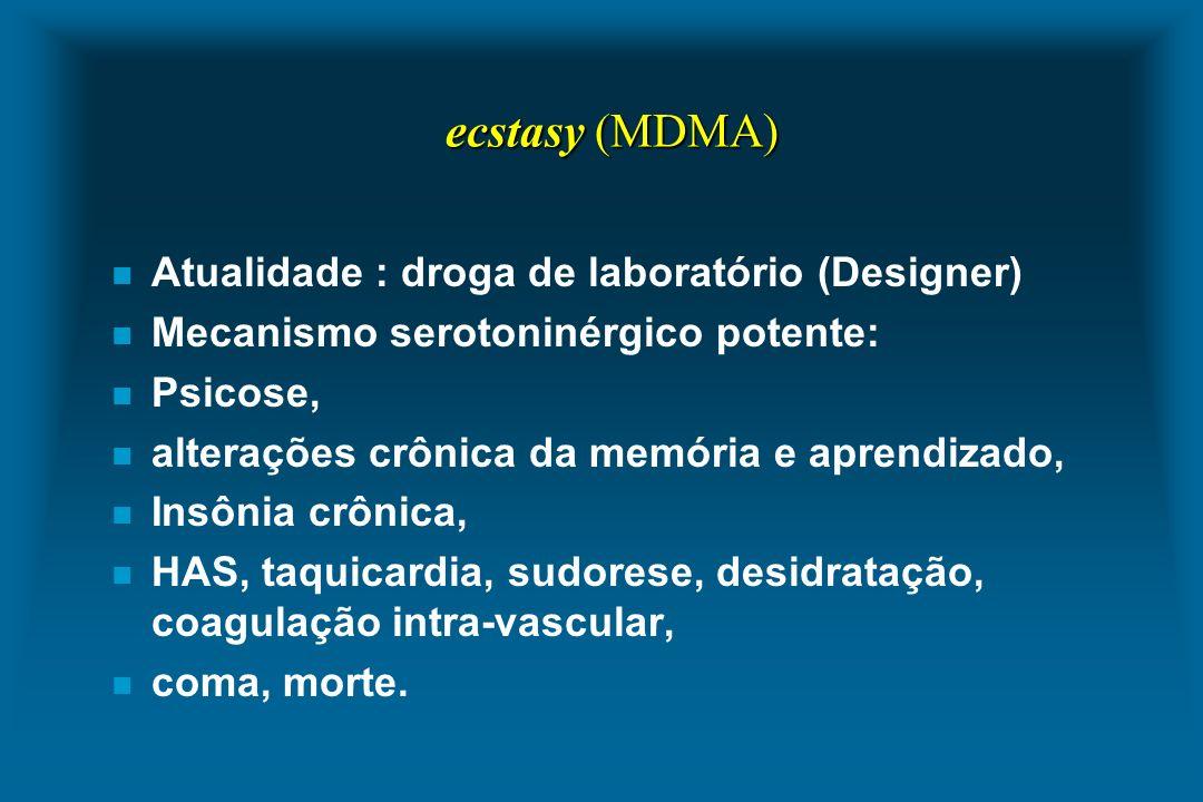 ecstasy (MDMA) n Atualidade : droga de laboratório (Designer) n Mecanismo serotoninérgico potente: n Psicose, n alterações crônica da memória e aprend
