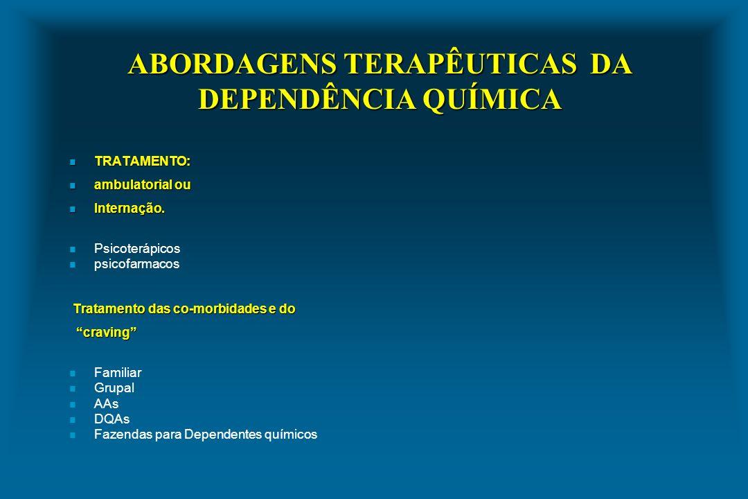 ABORDAGENS TERAPÊUTICAS DA DEPENDÊNCIA QUÍMICA n TRATAMENTO: n ambulatorial ou n Internação. n Psicoterápicos n psicofarmacos Tratamento das co-morbid