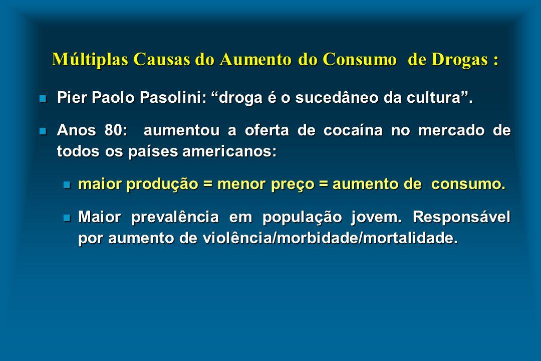 Múltiplas Causas do Aumento do Consumo de Drogas : n Pier Paolo Pasolini: droga é o sucedâneo da cultura. n Anos 80: aumentou a oferta de cocaína no m